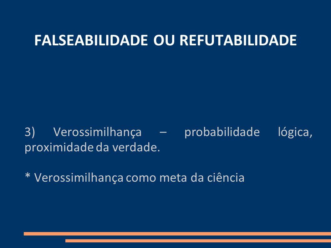 FALSEABILIDADE OU REFUTABILIDADE 3) Verossimilhança – probabilidade lógica, proximidade da verdade. * Verossimilhança como meta da ciência