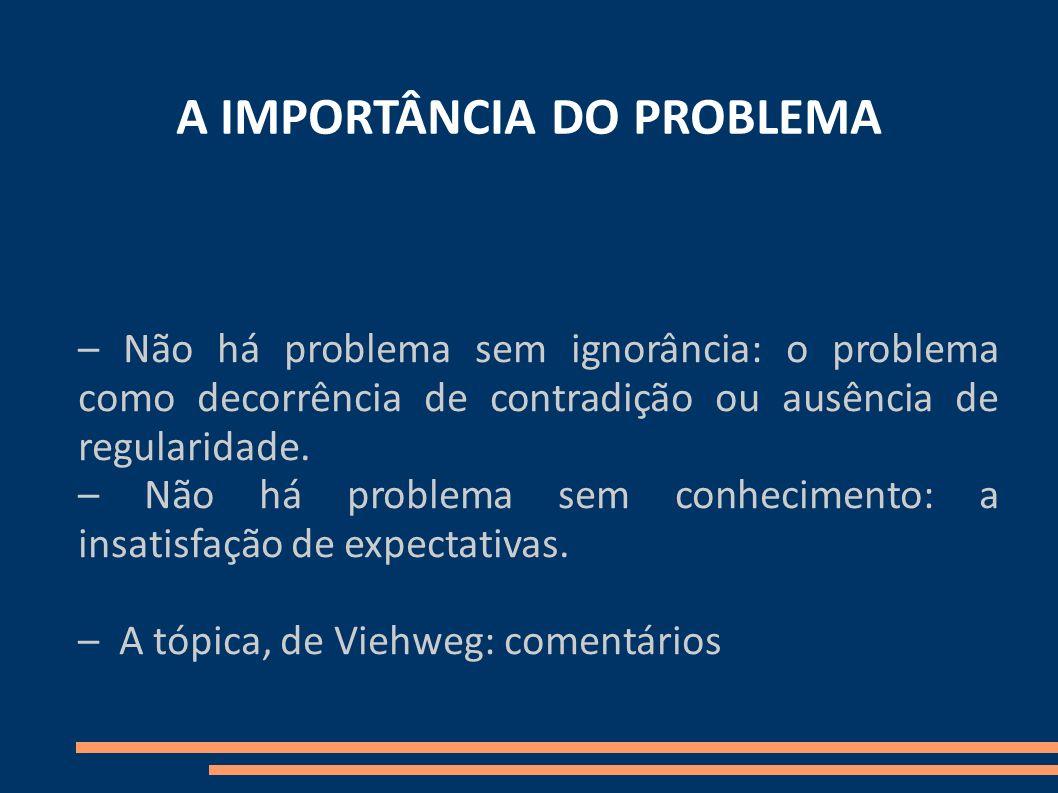 A IMPORTÂNCIA DO PROBLEMA – Não há problema sem ignorância: o problema como decorrência de contradição ou ausência de regularidade. – Não há problema