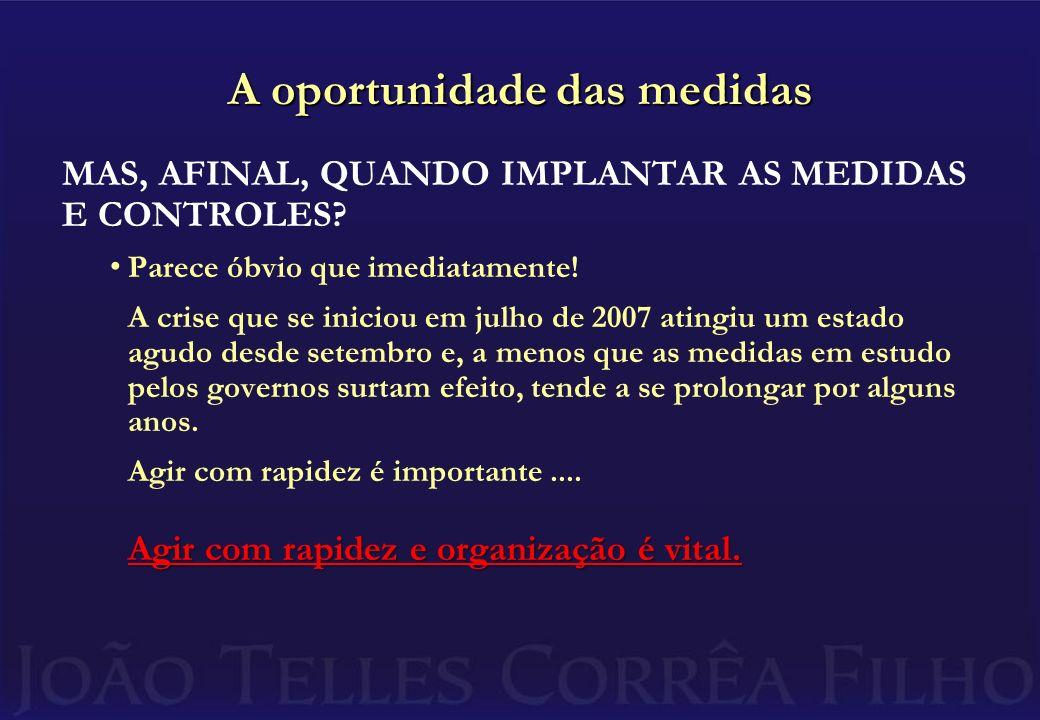 A oportunidade das medidas MAS, AFINAL, QUANDO IMPLANTAR AS MEDIDAS E CONTROLES.