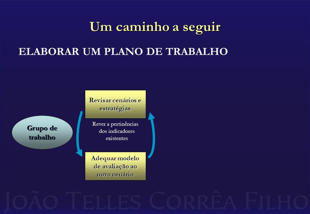Um caminho a seguir ELABORAR UM PLANO DE TRABALHO Grupo de trabalho Revisar cenários e estratégias Adequar modelo de avaliação ao novo cenário Rever a pertinências dos indicadores existentes