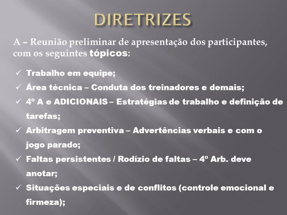 A – Reunião preliminar de apresentação dos participantes, com os seguintes tópicos : Trabalho em equipe; Área técnica – Conduta dos treinadores e dema