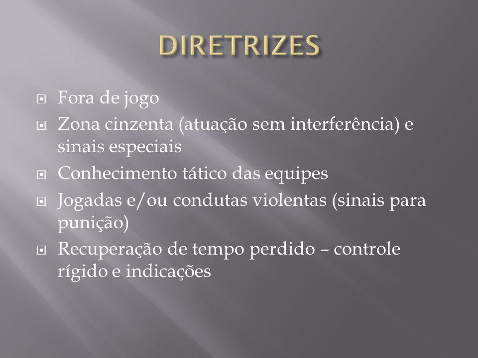 Fora de jogo Zona cinzenta (atuação sem interferência) e sinais especiais Conhecimento tático das equipes Jogadas e/ou condutas violentas (sinais para