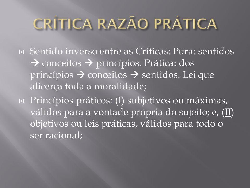 Sentido inverso entre as Críticas: Pura: sentidos conceitos princípios. Prática: dos princípios conceitos sentidos. Lei que alicerça toda a moralidade
