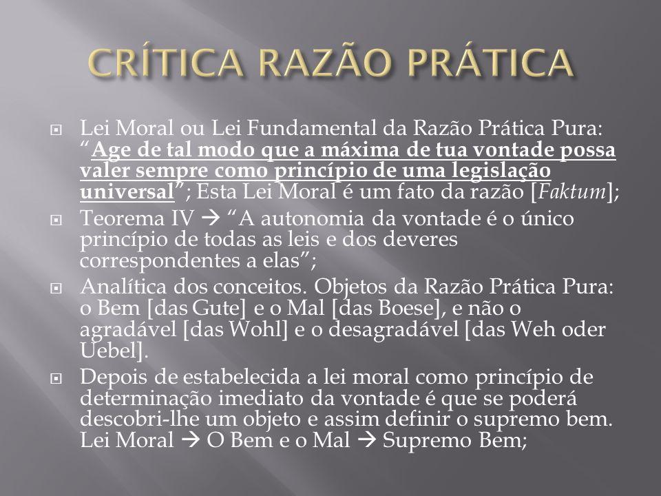 Lei Moral ou Lei Fundamental da Razão Prática Pura: Age de tal modo que a máxima de tua vontade possa valer sempre como princípio de uma legislação un