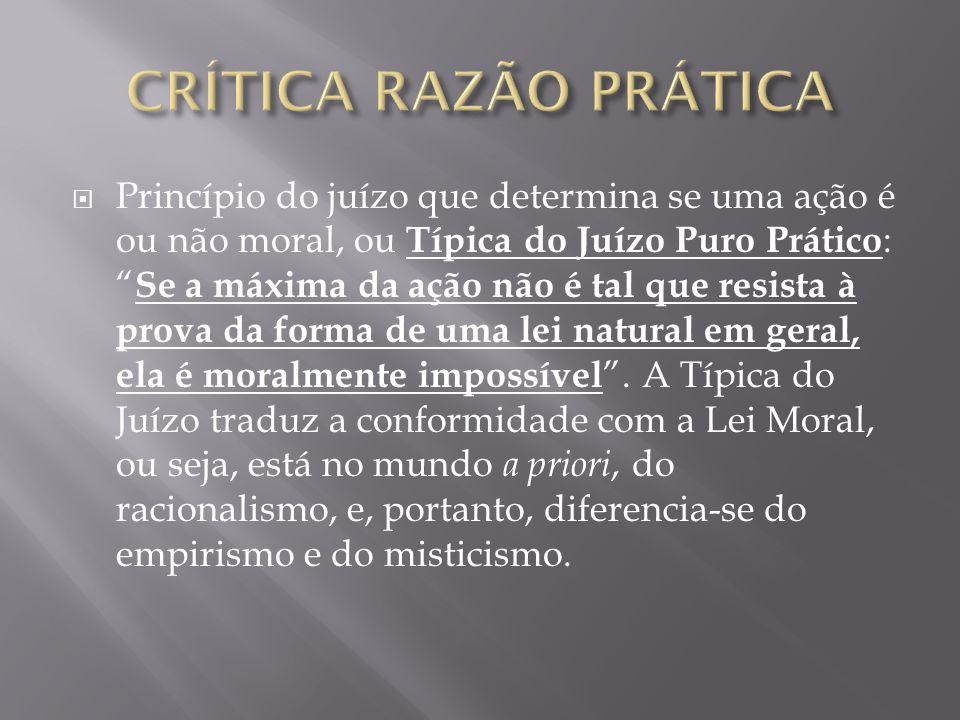 Princípio do juízo que determina se uma ação é ou não moral, ou Típica do Juízo Puro Prático : Se a máxima da ação não é tal que resista à prova da fo