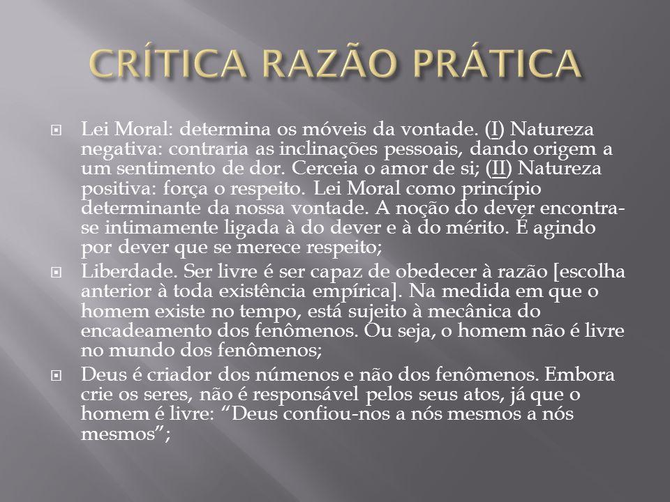 Lei Moral: determina os móveis da vontade. (I) Natureza negativa: contraria as inclinações pessoais, dando origem a um sentimento de dor. Cerceia o am