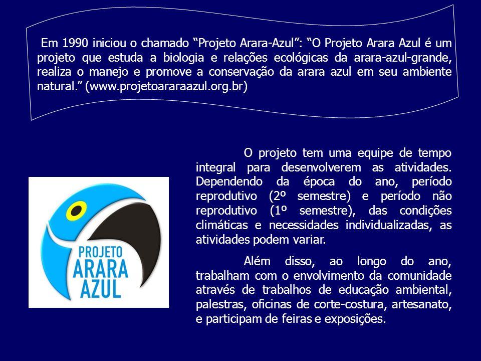 Em 1990 iniciou o chamado Projeto Arara-Azul: O Projeto Arara Azul é um projeto que estuda a biologia e relações ecológicas da arara-azul-grande, real
