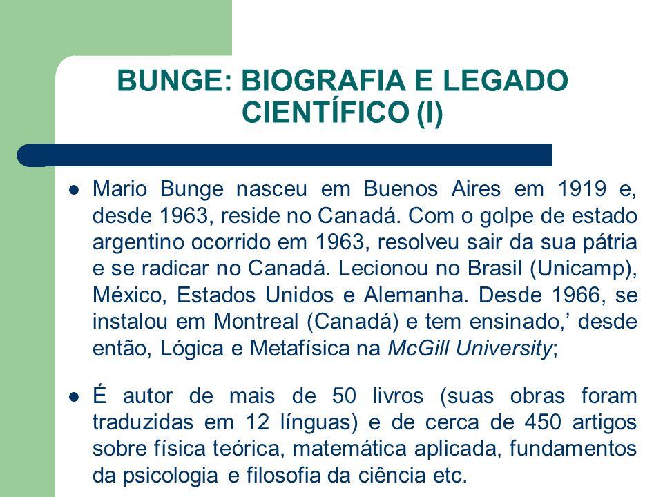 BUNGE: BIOGRAFIA E LEGADO CIENTÍFICO (I) Mario Bunge nasceu em Buenos Aires em 1919 e, desde 1963, reside no Canadá. Com o golpe de estado argentino o