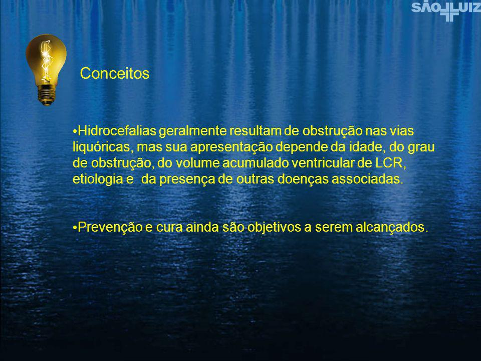 Hidrocefalias geralmente resultam de obstrução nas vias liquóricas, mas sua apresentação depende da idade, do grau de obstrução, do volume acumulado v