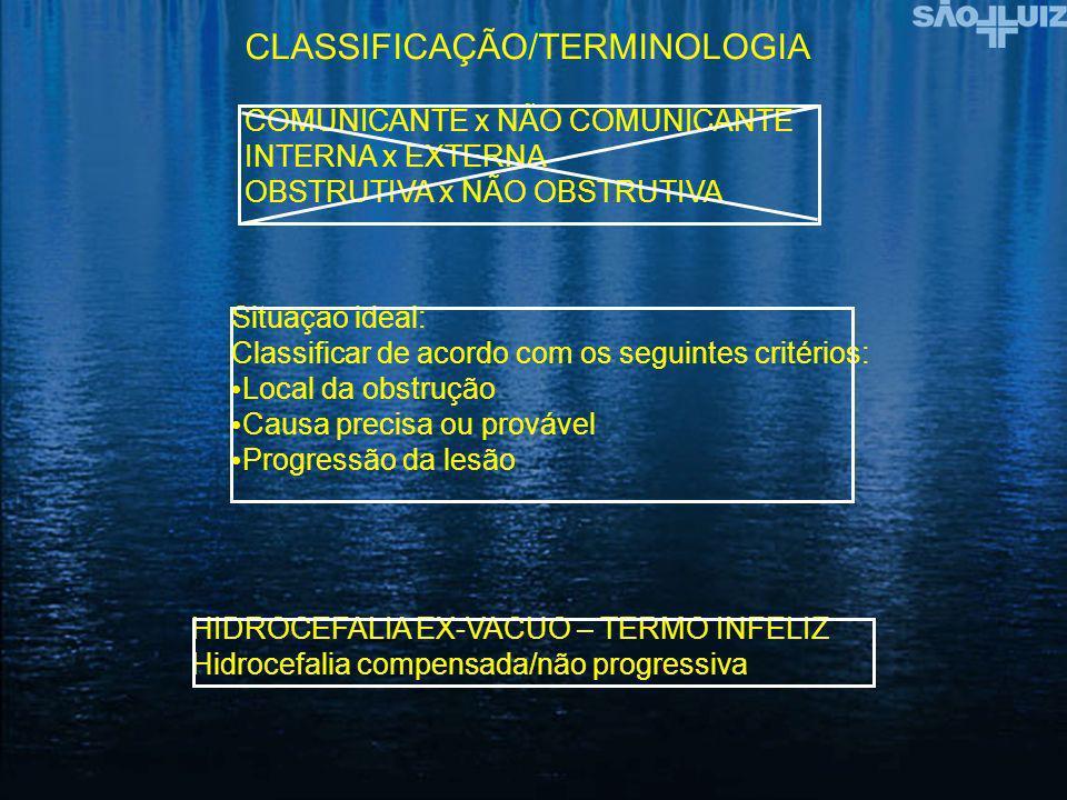 CLASSIFICAÇÃO/TERMINOLOGIA COMUNICANTE x NÃO COMUNICANTE INTERNA x EXTERNA OBSTRUTIVA x NÃO OBSTRUTIVA Situação ideal: Classificar de acordo com os se