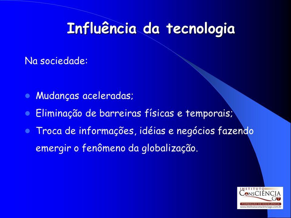 Influência da tecnologia Na sociedade: Mudanças aceleradas; Eliminação de barreiras físicas e temporais; Troca de informações, idéias e negócios fazen