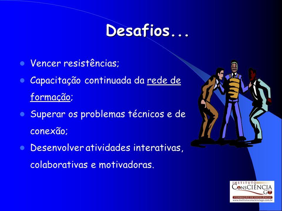 Desafios... Vencer resistências; Capacitação continuada da rede de formação; Superar os problemas técnicos e de conexão; Desenvolver atividades intera