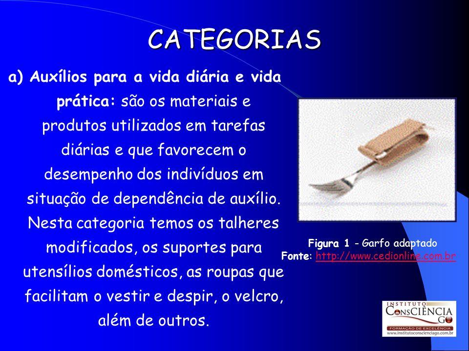 CATEGORIAS a) Auxílios para a vida diária e vida prática: são os materiais e produtos utilizados em tarefas diárias e que favorecem o desempenho dos i