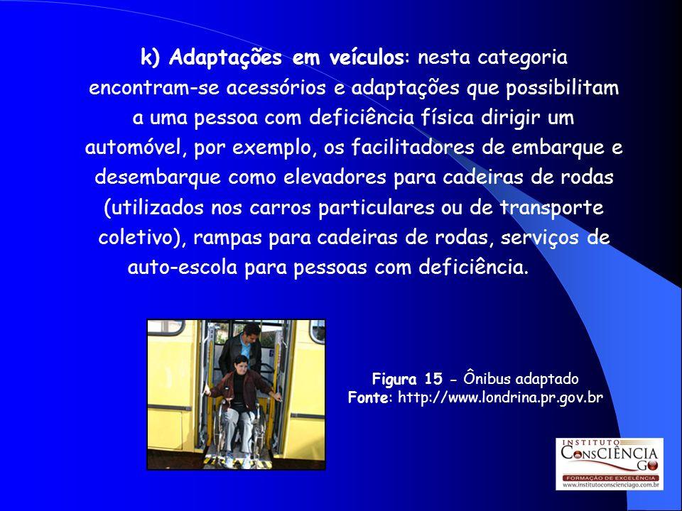k) Adaptações em veículos: nesta categoria encontram-se acessórios e adaptações que possibilitam a uma pessoa com deficiência física dirigir um automó