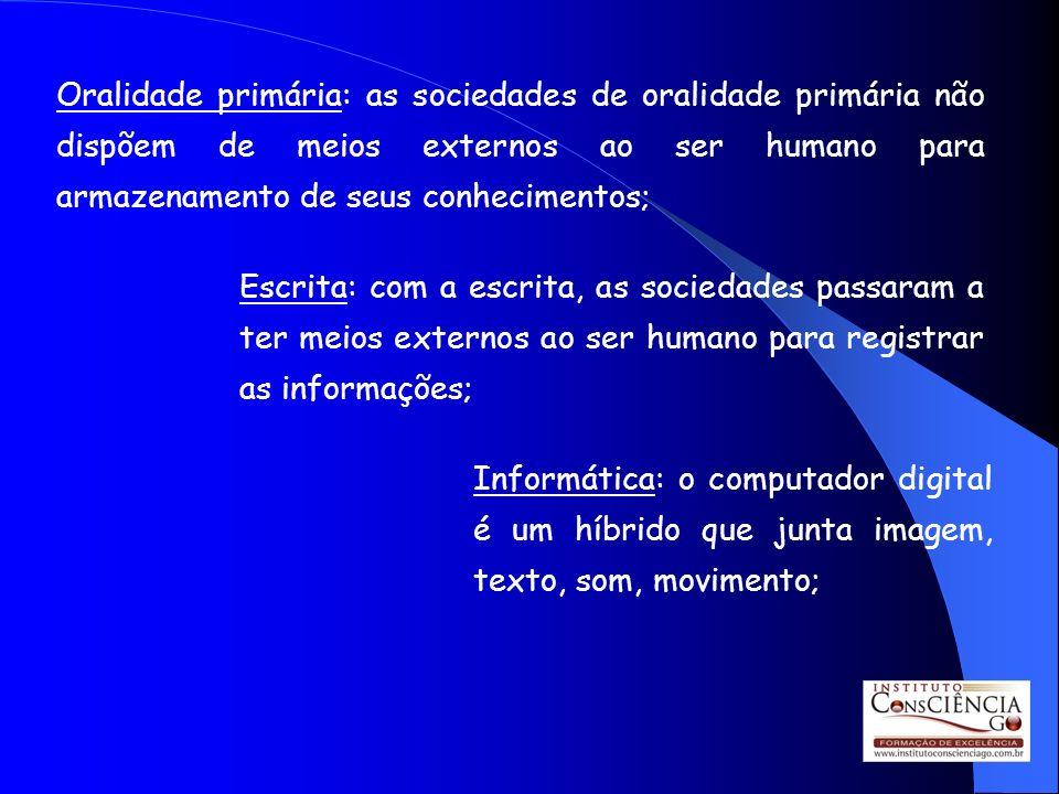 Oralidade primária: as sociedades de oralidade primária não dispõem de meios externos ao ser humano para armazenamento de seus conhecimentos; Escrita: