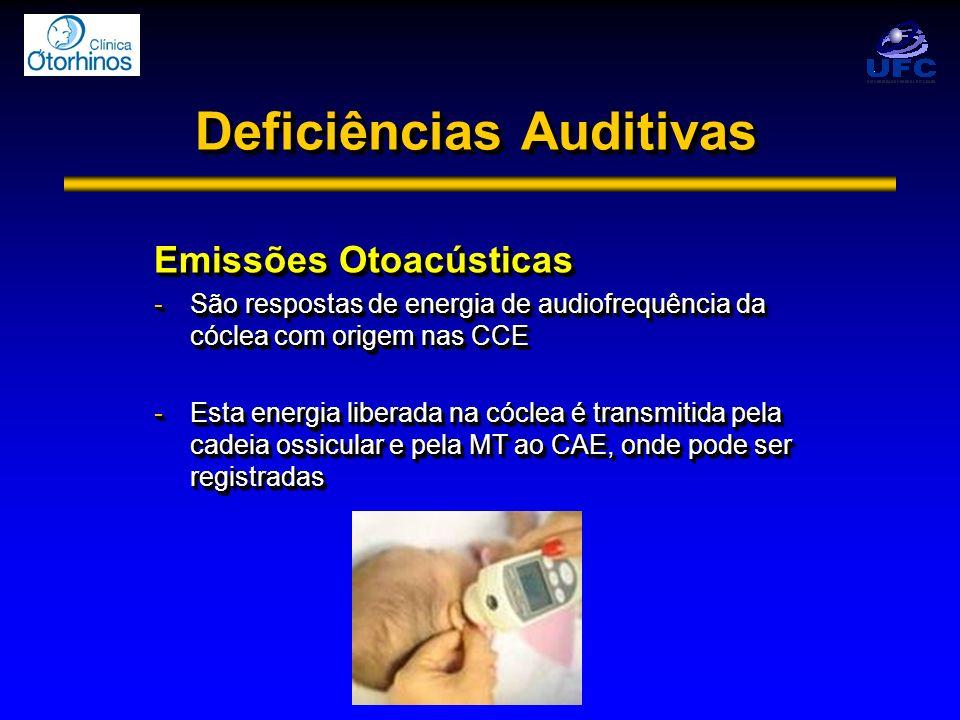 Deficiências Auditivas Emissões Otoacústicas -São respostas de energia de audiofrequência da cóclea com origem nas CCE -Esta energia liberada na cócle