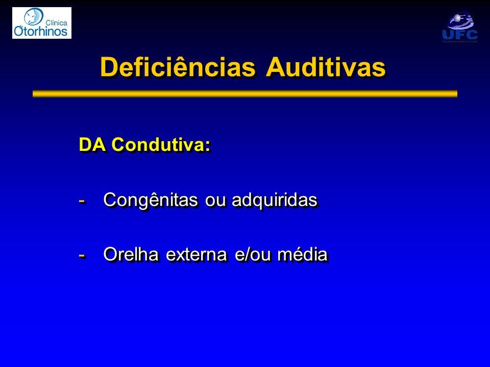 Deficiências Auditivas DA Condutiva: -Congênitas ou adquiridas -Orelha externa e/ou média DA Condutiva: -Congênitas ou adquiridas -Orelha externa e/ou