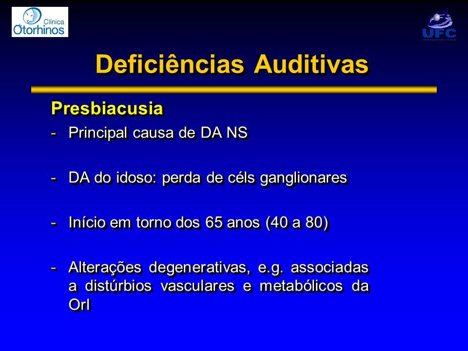 Deficiências Auditivas Presbiacusia -Principal causa de DA NS -DA do idoso: perda de céls ganglionares -Início em torno dos 65 anos (40 a 80) -Alteraç