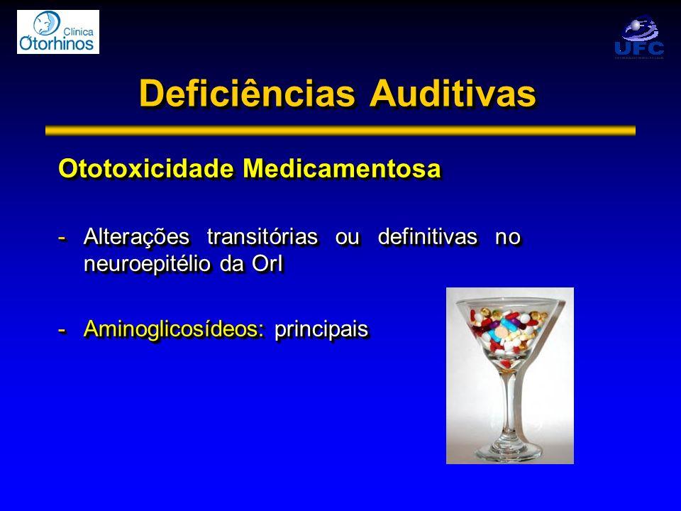 Deficiências Auditivas Ototoxicidade Medicamentosa -Alterações transitórias ou definitivas no neuroepitélio da OrI -Aminoglicosídeos: principais Ototo