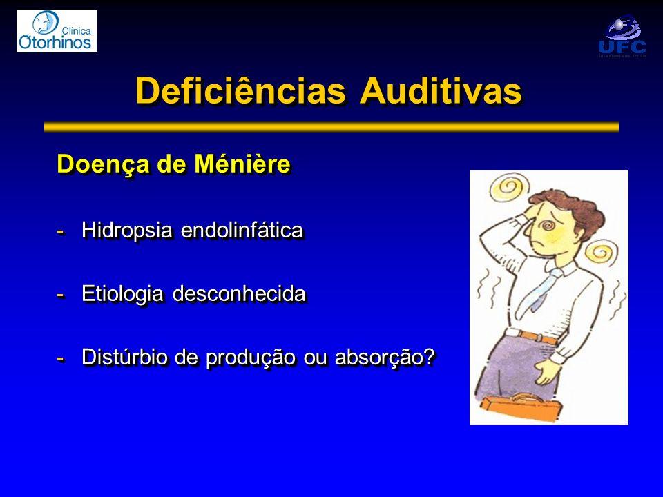 Deficiências Auditivas Doença de Ménière -Hidropsia endolinfática -Etiologia desconhecida -Distúrbio de produção ou absorção? Doença de Ménière -Hidro