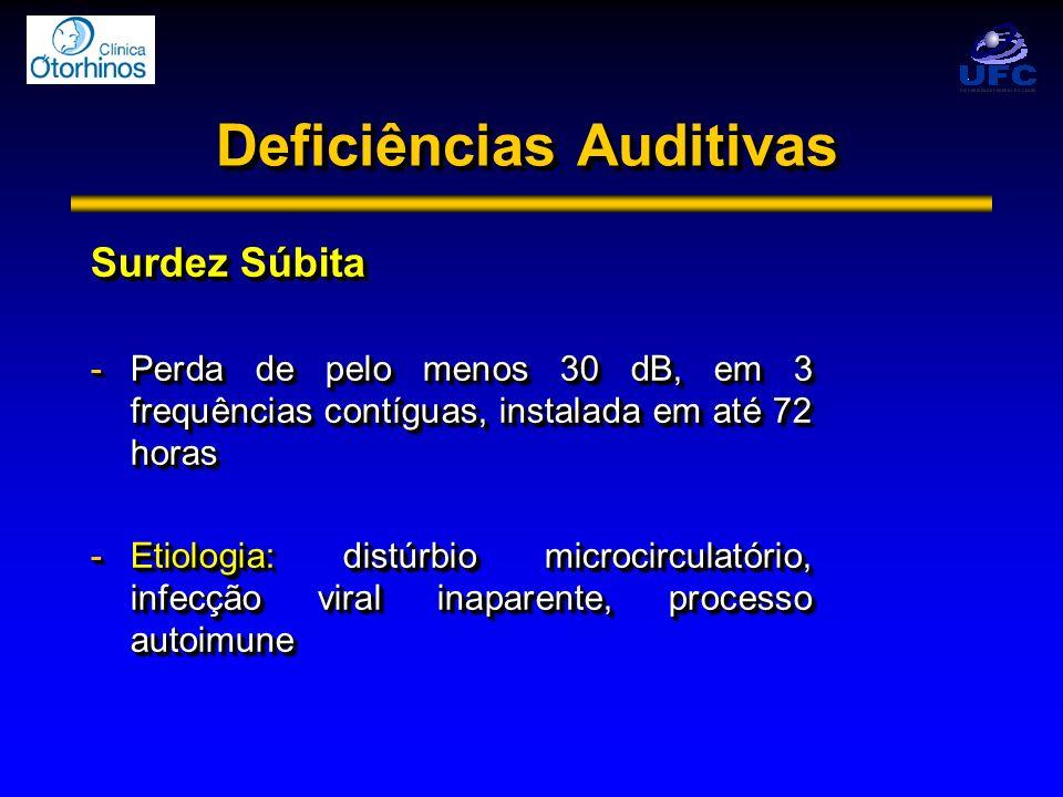 Deficiências Auditivas Surdez Súbita -Perda de pelo menos 30 dB, em 3 frequências contíguas, instalada em até 72 horas -Etiologia: distúrbio microcirc