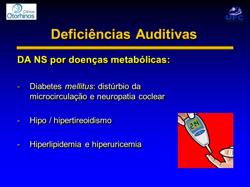 Deficiências Auditivas DA NS por doenças metabólicas: -Diabetes mellitus: distúrbio da microcirculação e neuropatia coclear -Hipo / hipertireoidismo -