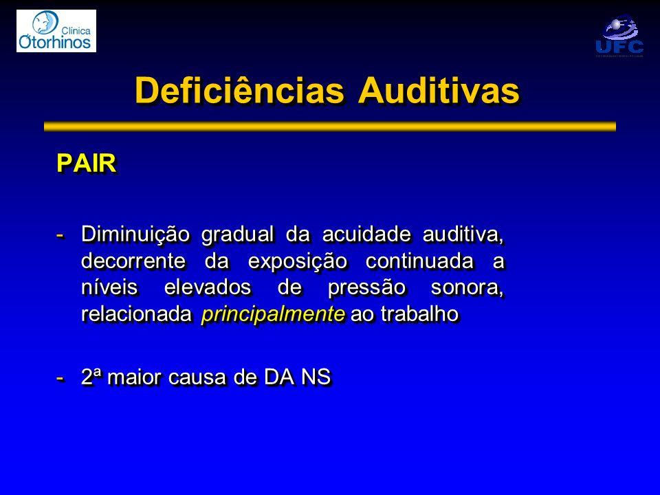 PAIR -Diminuição gradual da acuidade auditiva, decorrente da exposição continuada a níveis elevados de pressão sonora, relacionada principalmente ao t
