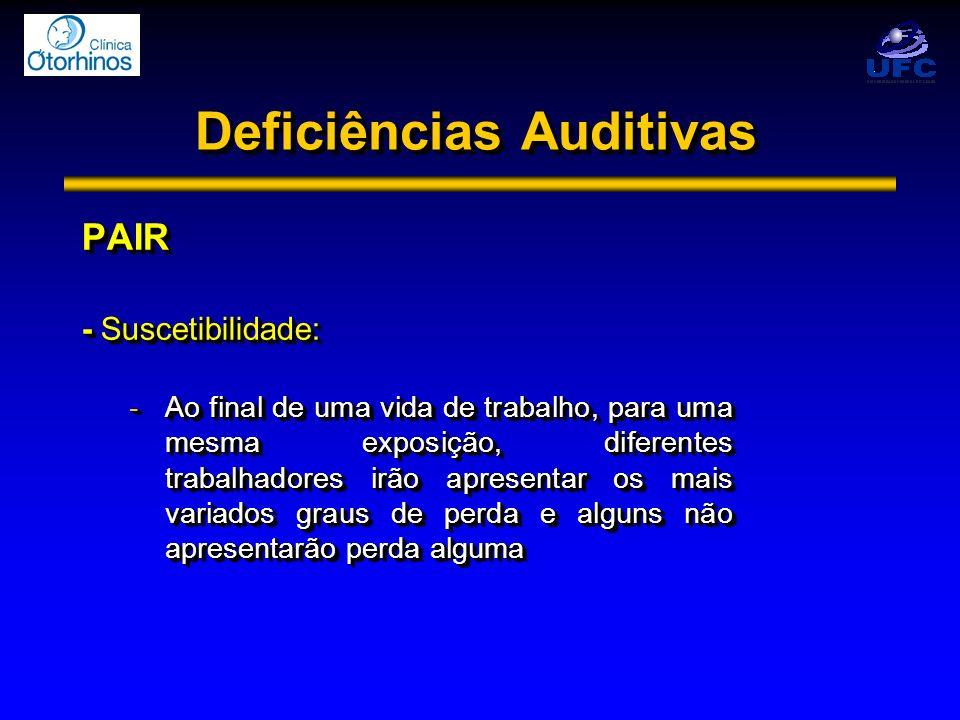 Deficiências Auditivas PAIR - Suscetibilidade: -Ao final de uma vida de trabalho, para uma mesma exposição, diferentes trabalhadores irão apresentar o