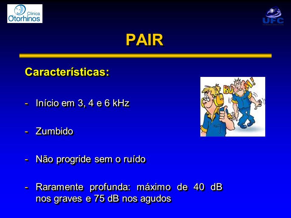 PAIRPAIR Características: -Início em 3, 4 e 6 kHz -Zumbido -Não progride sem o ruído -Raramente profunda: máximo de 40 dB nos graves e 75 dB nos agudo