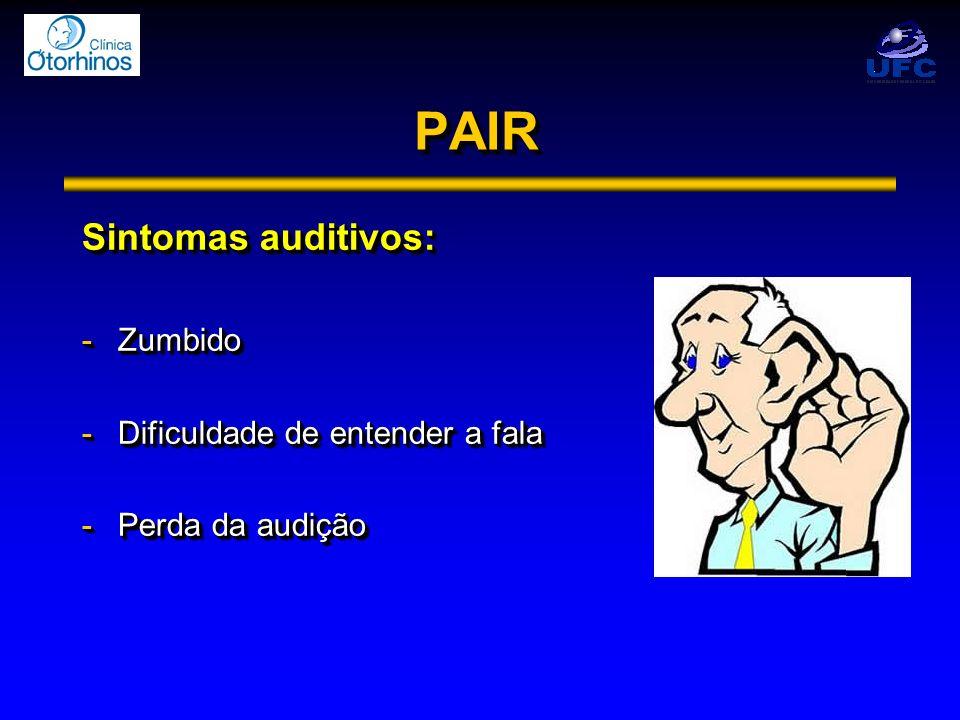 PAIRPAIR Sintomas auditivos: -Zumbido -Dificuldade de entender a fala -Perda da audição Sintomas auditivos: -Zumbido -Dificuldade de entender a fala -