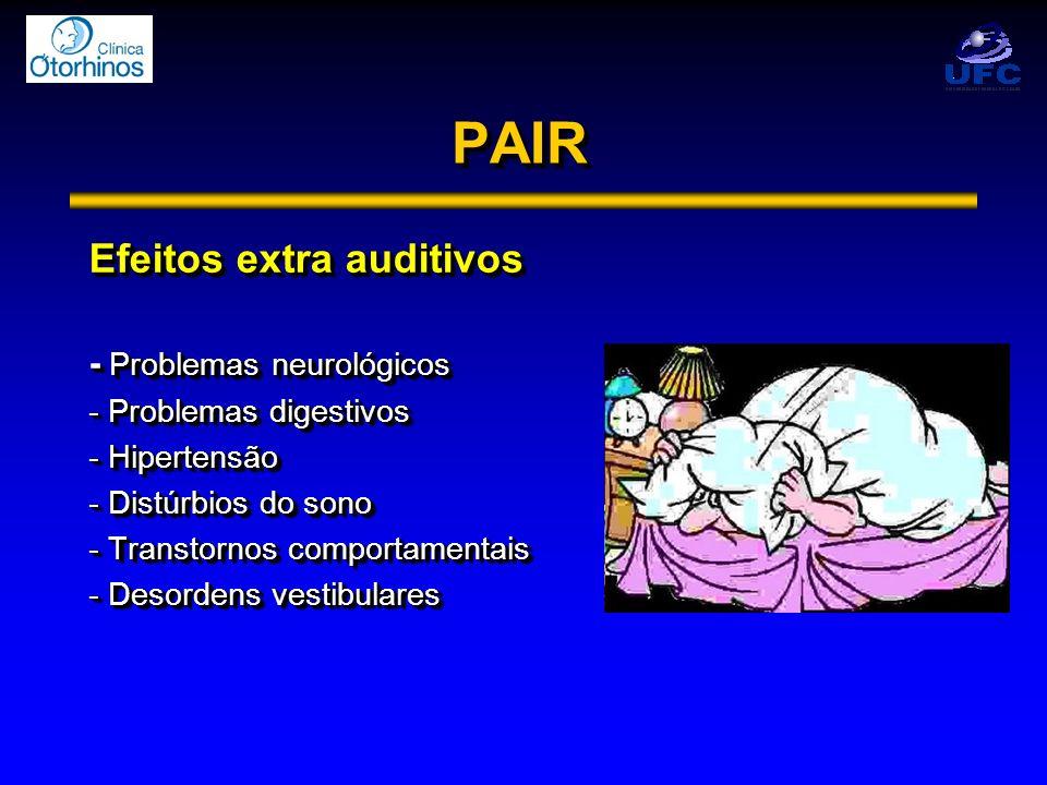 PAIRPAIR Efeitos extra auditivos - Problemas neurológicos - Problemas digestivos - Hipertensão - Distúrbios do sono - Transtornos comportamentais - De