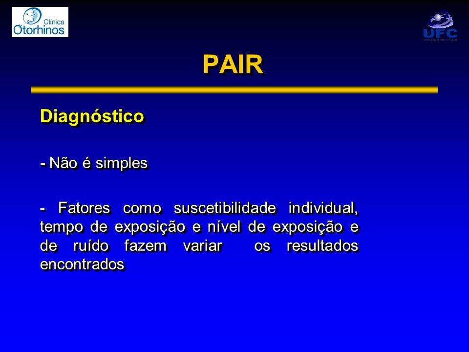 PAIRPAIR Diagnóstico - Não é simples - Fatores como suscetibilidade individual, tempo de exposição e nível de exposição e de ruído fazem variar os res