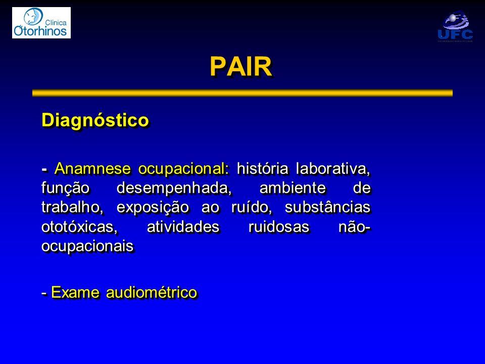 PAIRPAIR Diagnóstico - Anamnese ocupacional: história laborativa, função desempenhada, ambiente de trabalho, exposição ao ruído, substâncias ototóxica