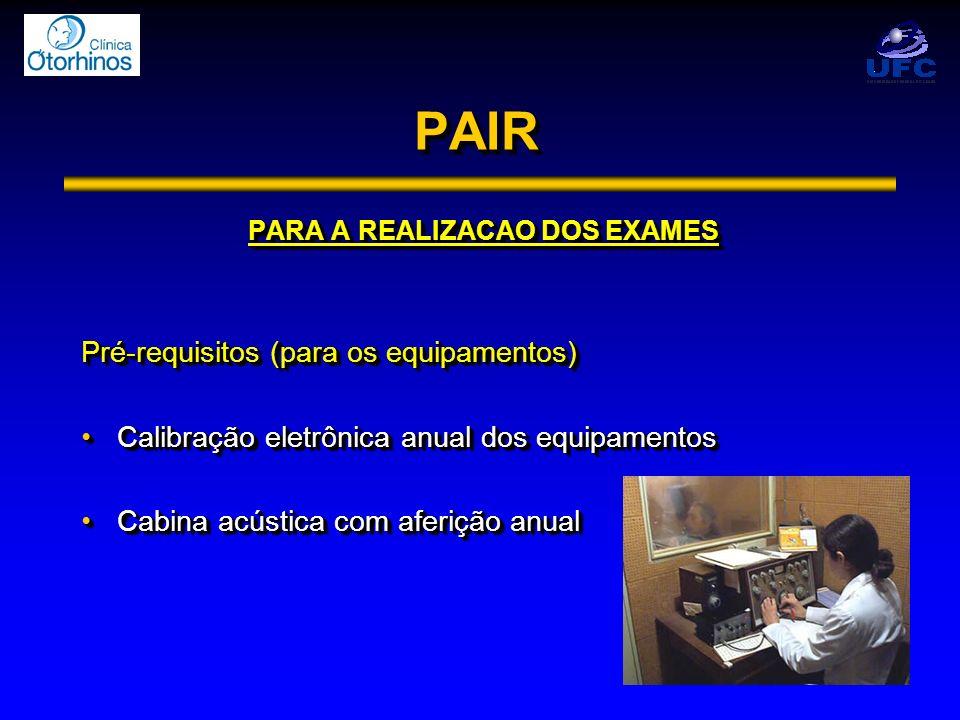 PAIRPAIR PARA A REALIZACAO DOS EXAMES Pré-requisitos (para os equipamentos) Calibração eletrônica anual dos equipamentosCalibração eletrônica anual do