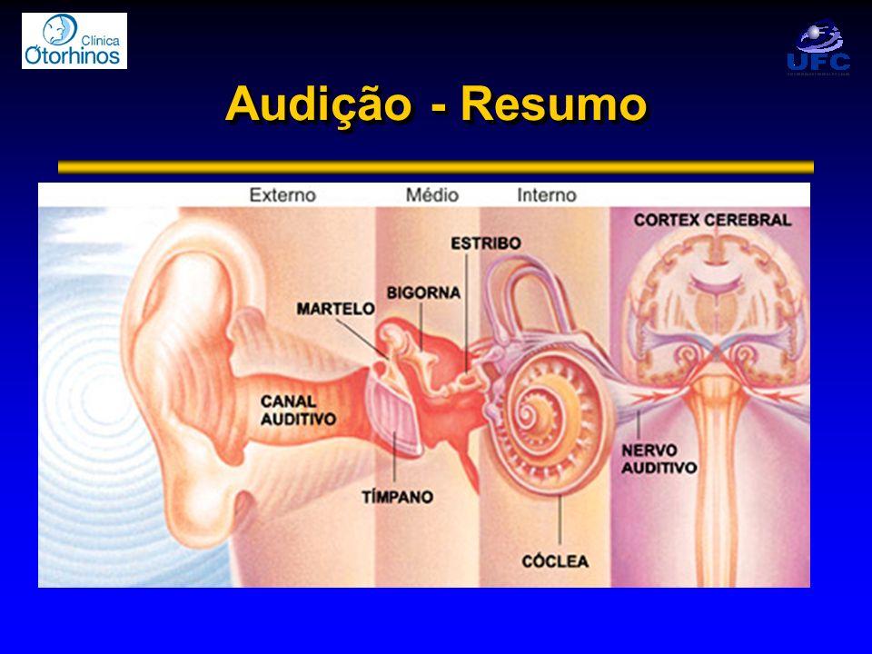 Deficiências Auditivas Presbiacusia -Principal causa de DA NS -DA do idoso: perda de céls ganglionares -Início em torno dos 65 anos (40 a 80) -Alterações degenerativas, e.g.
