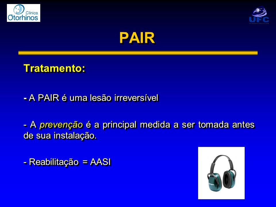 PAIRPAIR Tratamento: - A PAIR é uma lesão irreversível - A prevenção é a principal medida a ser tomada antes de sua instalação. - Reabilitação = AASI