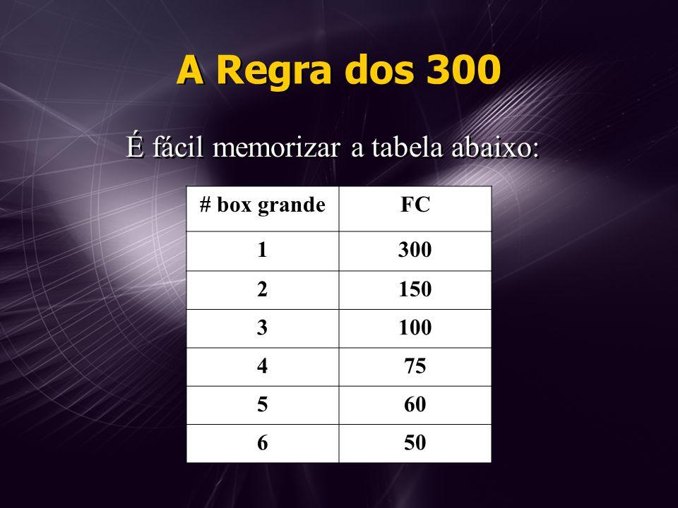A Regra dos 300 É fácil memorizar a tabela abaixo: # box grandeFC 1300 2150 3100 475 560 650