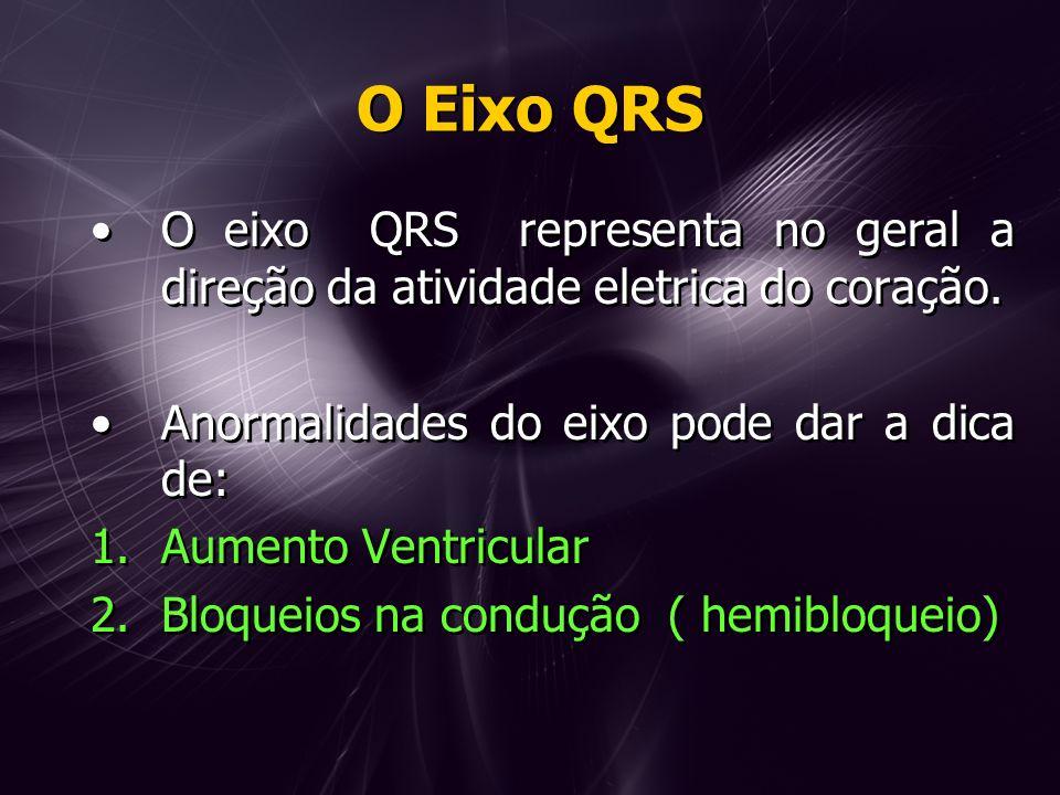 O Eixo QRS O eixo QRS representa no geral a direção da atividade eletrica do coração.