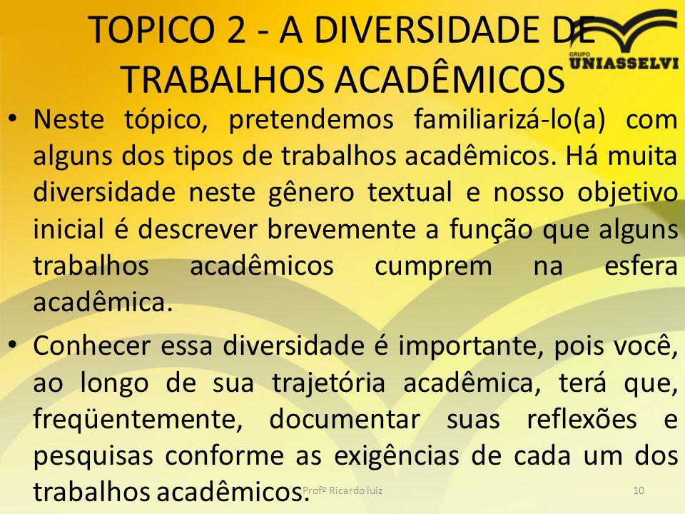 TOPICO 2 - A DIVERSIDADE DE TRABALHOS ACADÊMICOS Neste tópico, pretendemos familiarizá-lo(a) com alguns dos tipos de trabalhos acadêmicos. Há muita di