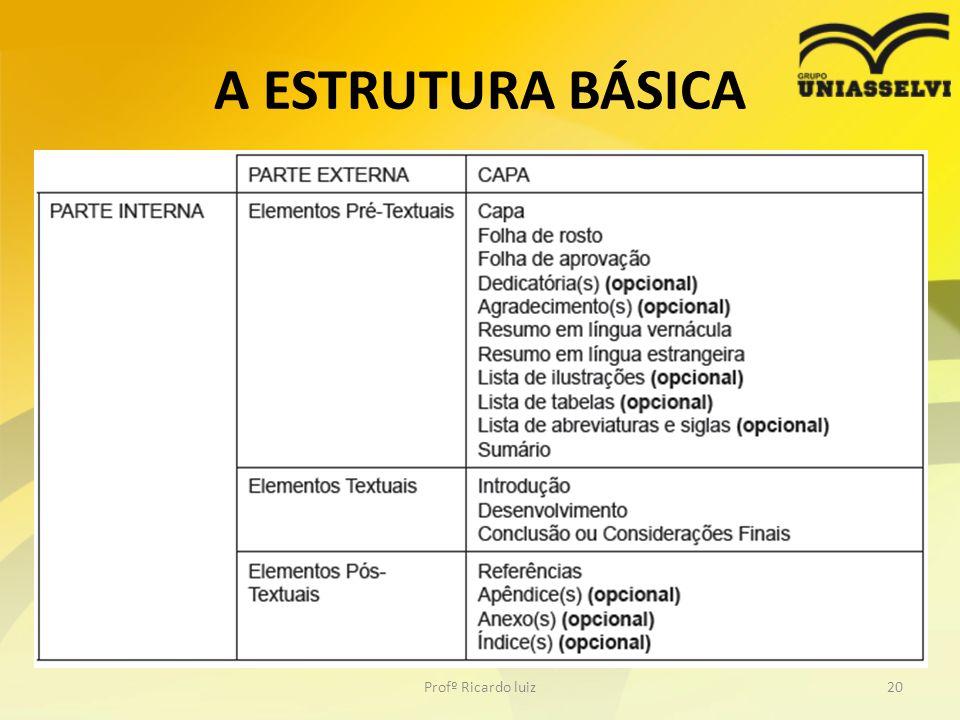 A ESTRUTURA BÁSICA Profº Ricardo luiz20