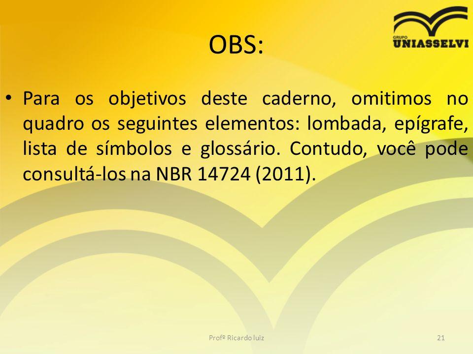 OBS: Para os objetivos deste caderno, omitimos no quadro os seguintes elementos: lombada, epígrafe, lista de símbolos e glossário. Contudo, você pode