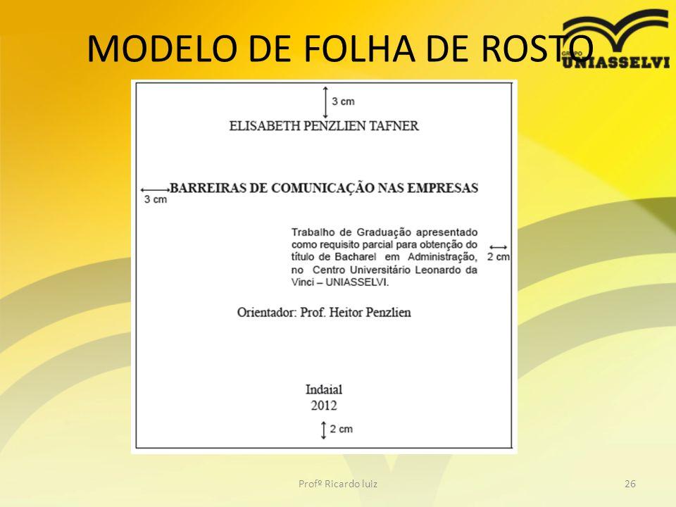 MODELO DE FOLHA DE ROSTO Profº Ricardo luiz26