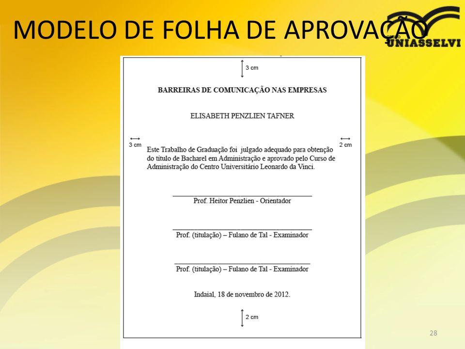 MODELO DE FOLHA DE APROVAÇÃO Profº Ricardo luiz28