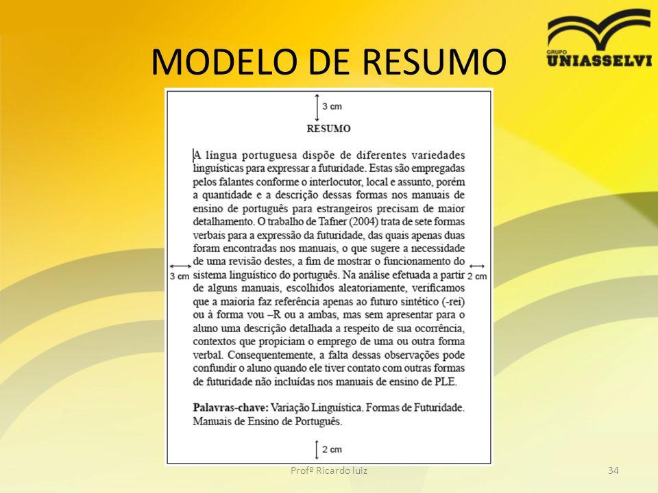 MODELO DE RESUMO Profº Ricardo luiz34