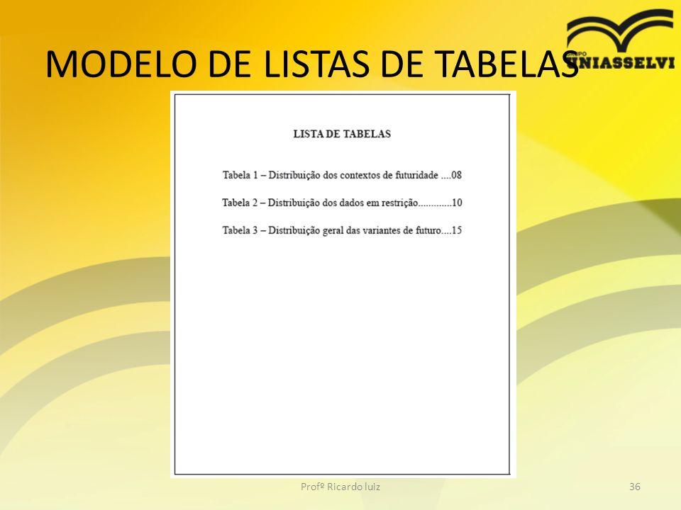 MODELO DE LISTAS DE TABELAS Profº Ricardo luiz36