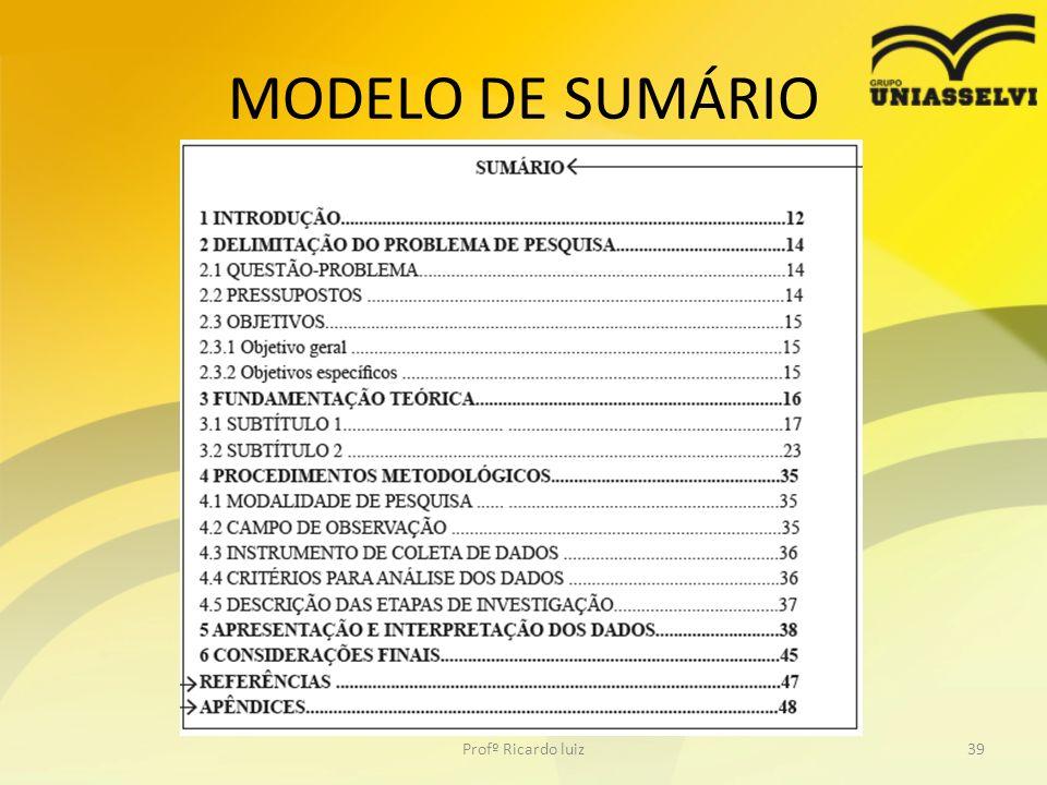 MODELO DE SUMÁRIO Profº Ricardo luiz39