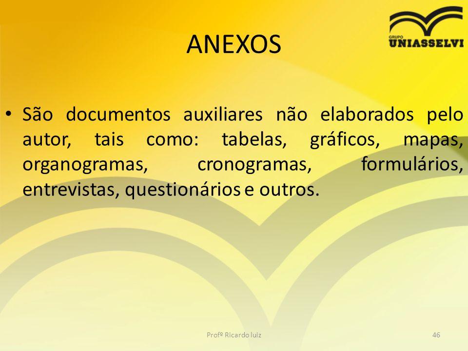 ANEXOS São documentos auxiliares não elaborados pelo autor, tais como: tabelas, gráficos, mapas, organogramas, cronogramas, formulários, entrevistas,