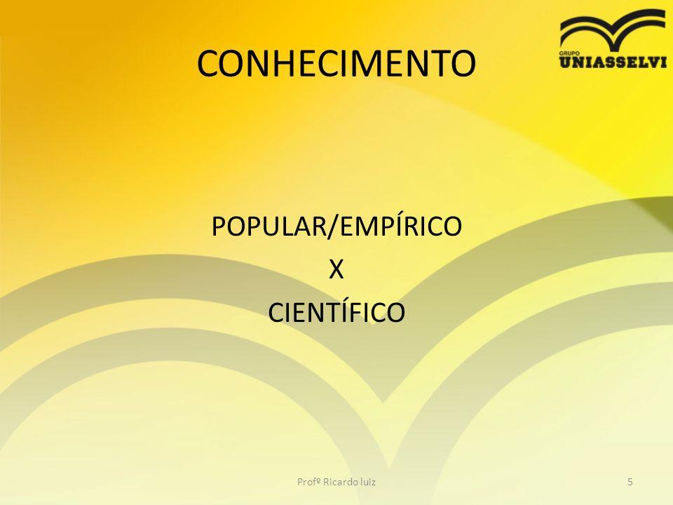 CONHECIMENTO POPULAR/EMPÍRICO X CIENTÍFICO Profº Ricardo luiz5