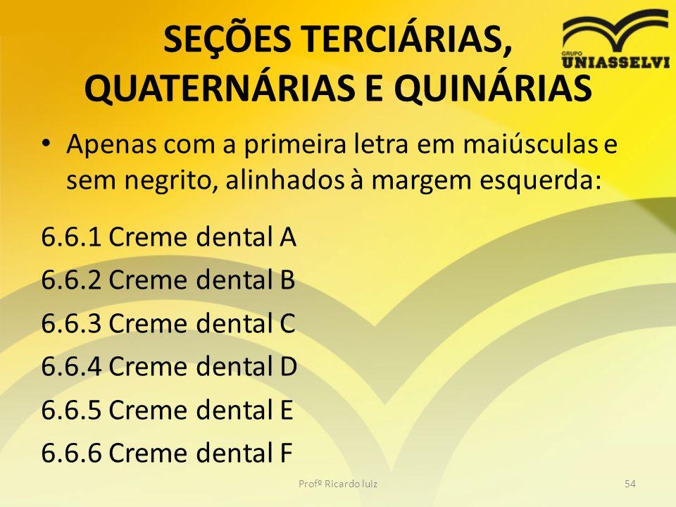 SEÇÕES TERCIÁRIAS, QUATERNÁRIAS E QUINÁRIAS Apenas com a primeira letra em maiúsculas e sem negrito, alinhados à margem esquerda: 6.6.1 Creme dental A