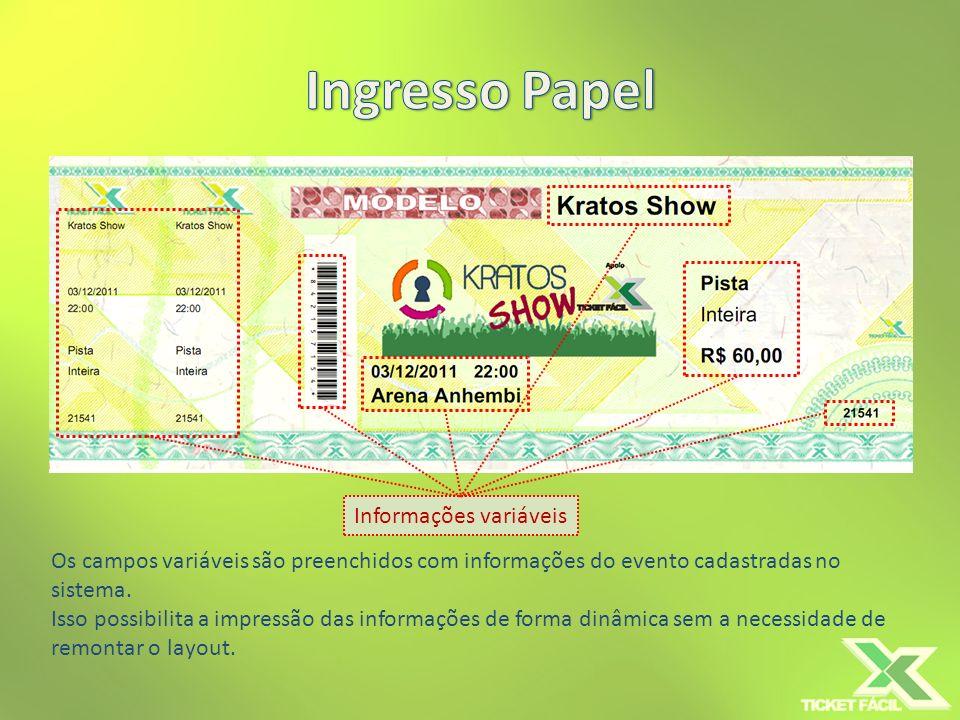 Informações variáveis A combinação de textos, imagens e campos variáveis permite a impressão de diversos tipos de ingressos sem a necessidade de recriar o layout.